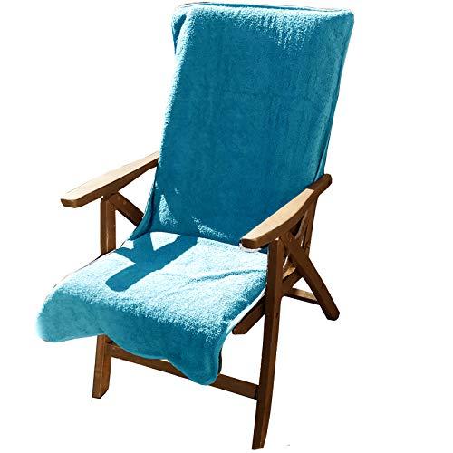 JEMIDI badstof hoes voor tuinstoelen tuinstoel 60cm x 130cm badstof hoes handdoek toptoplage beschermlaag hoes hoes beddengoed katoen zonneligstoel overtrek 60cm x 130cm turquoise