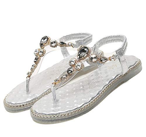 Drxiu Sandalias con Diamantes De Imitación Chanclas para Mujer, Zapatos Casuales para Mujer, Banda Elástica, Sandalias Bohemias De Mujeres, Zapatillas Planos A La Moda,Silver-41