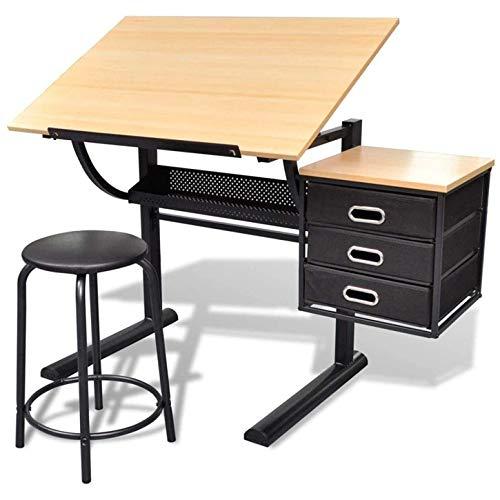 Zeichentisch Architektentisch Schreibtisch, mit Schubladen und Hocker,Bürotisch neigungsverstellbar, Artist Architektentisch, Arbeitszimmer, Zeichnen, Computertisch für Architekten und Techniker