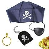 Piraten Zubehör Set Kinder Piraten Augenklappe, Goldmünzen, Piratenhaken, Totenkopf Kopftuch für Halloween Karneval Fasching