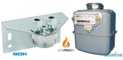 Set aus SAMGAS Gaszähler (geeicht) und Halteplatte G 4