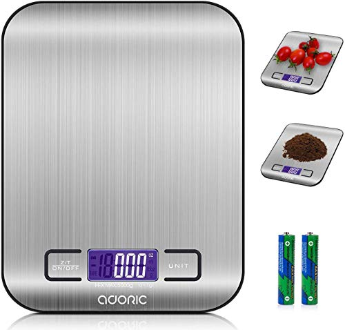 ADORIC Báscula Digital para Cocina de Acero Inoxidable, 5kg / 11 lbs, Balanza de Alimentos Multifuncional, Peso de Cocina, Color Plata (Baterías Incluidas)