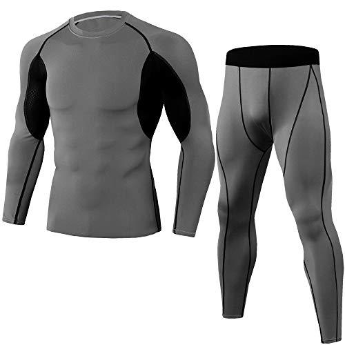 Hombres Correr Trajes de Jogging Ropa Deportes Conjunto de Camiseta Larga Y Pantalones Medias Ropa
