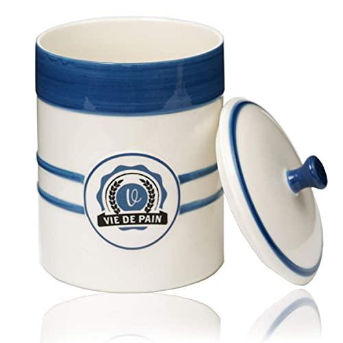 Sourdough Starter Jar Sourdough Crock- Sourdough Starter Crock- Sourdough Jar- Dough Fermentation Jar with Breathable Lid- Ideal for Bread Making Kit or Food Pantry Storage- Wide Mouth Crock- 1 Quart
