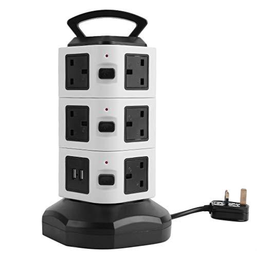 Kitechildhssd Enchufe Inteligente del Interruptor de Encendido del Puerto USB de 3/4/5 Capas con la Tira del Poder del Enchufe en Blanco y Negro