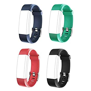 NewBull ID115 Plus HR Replacement Bands for Women and Men Adjustable Wristbands Set for Activity Tracker ID115 Plus HR  4 Pack RED/Green/Blue/Black