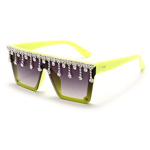 NJJX Nuevas Gafas De Sol Cuadradas De Gran Tamaño Con Diamantes Para Mujer, Montura Grande, Gafas De Sol De Marca De Lujo De Una Pieza, Gafas Con Colgante De Diamantes De Imitación, Amarillo
