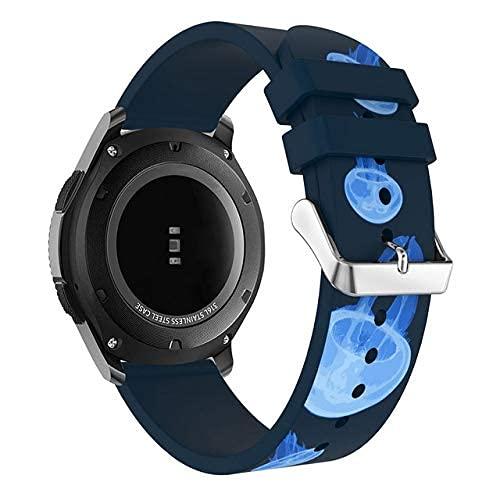 KTZAJO 2021 Las últimas bandas para Samsung Gear S3 Frontier/Classic Watch Individualidad Moda Estilo Replecement Theme Printing Correa de silicona 22 mm (color : tema de medusas)