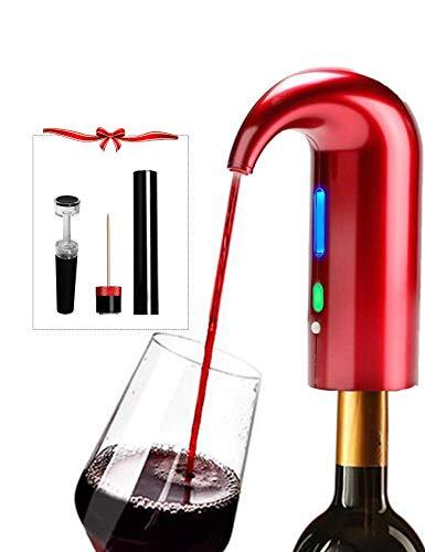 Dispensador de aireador de vino de un toque decantador vertedor para regalo rojo para los amantes del vino