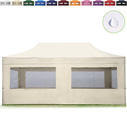 TOOLPORT Faltpavillon Faltzelt 3x6m - 4 Seitenteile ALU Pavillon (TÜV Rheinland geprüft) Partyzelt Creme Dach 100% WASSERDICHT (GS geprüft)