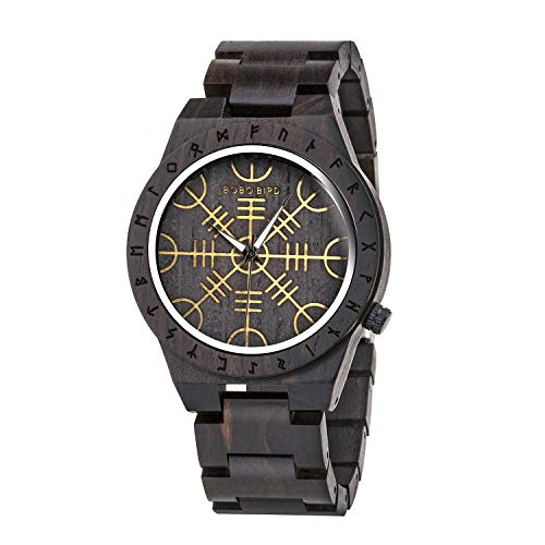 BOBO BIRD Mens Unique Engrave Wood Watches Luxury Stylish Watch Wood Strap with Bamboo Wooden Box