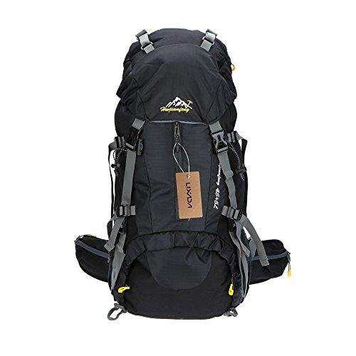 Lixada Zaino da Trekking Zaini da Escursionismo 50L Impermeabile Sport Trekking Escursioni Campeggio Viaggio Arrampicata Zaino con Copertura della Pioggia (Blu) (Nero)