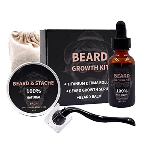 NiceJoy Productos de Cuidado de la Belleza Crecimiento de la Barba Kit de suero Aceite Bálsamo de Microneedle Rodillo Facial de Pelo Que Crece la Barba Regalo Kit Cuidado Hombres