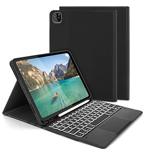 Keyboard Case with Touchpad Mouse for iPad pro 11-inch, Jelly Comb Bluetooth Backlit Keyboard for iPad Pro 11 2nd Generation /1st Gen. UK Layout with Stand Cover & Trackpad, Black