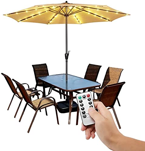 ISAKEN Patio Umbrella LED String Lights Waterproof, with Remote Control LED 8 Modes , for Umbrella Outdoor Garden Decoration