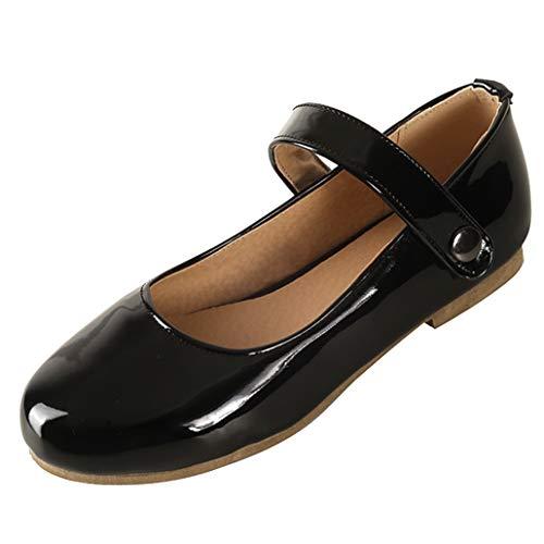 Femany Mary Jane Damenschuhe Lack Pumps mit Riemchen Flach Ballerina Rockabilly Schuhe (Schwarz 1,40)