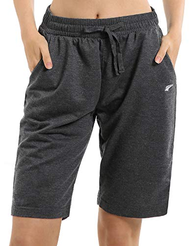 EZRUN Women's Lounge Bermuda Shorts Workout Activewear Jogger Gym Yoga Sweat Shorts with Pockets(Charcoal,m)