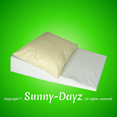 SunnyDayz Large Acid Reflux Foam Bed Wedge Pillow, Mattress Tilter, Reflex Foam, Stomach Acid, Gerd, Heartburn, with Polycotton Cover.