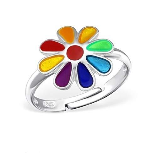 Kinder Ring 925 Echt Silber Mädchen Fingerring Emaille Kristalle Verstellbar (Blume / 11mm)