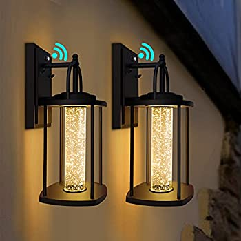 PARTPHONER Dusk to Dawn Outdoor Light Fixtures Wall Mount 2 Pack Modern Wall Sconce Lighting with Crystal Bubble Glass LED Porch Lights with Photocell Sensor 10W 3000K for Front Door Garage Patio