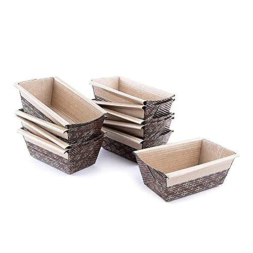 """Paper Loaf Pan, Disposable Paper Baking Loft Mold 25ct, All Natural, Recyclable, Microwave Oven Freezer Safe, Providing Beautiful Display for Baked Goods 4""""x2""""x2"""""""