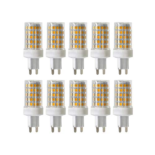 ONLT 10PCS dimmerabili G9 10W lampade, 6000K 950 LM 86X2835 SMD,CRI >80,Sostituzione 90W Alogena,ceramica lampada LED bianco bianco, AC 220-240V, 360 ° angolo di visuale,lampadine LED,lampadina LED