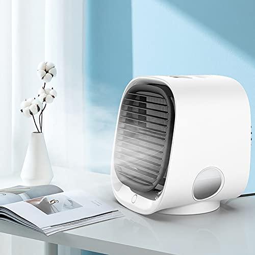 VRQG Mini condizionatore d'Aria, condizionatore d'Aria Portatile, condizionatore d'Aria Domestico umidificatore USB Desktop con climatizzatore a 3 velocità,Bianca