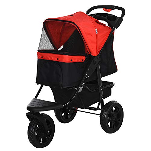 PawHut Folding Pet Stroller 3 Wheel Dog Jogger Travel Carrier Adjustable Canopy Storage Brake Mesh Window for Small Medium Dog Cat Red