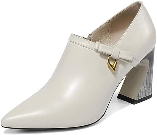 ZL Chaussures à Talons pour Femmes en Cuir Femme soulignées à l'intérieur et à l'extérieur en Cuir Chaussures à Talons épais et Talons épais avec Fermeture à glissière
