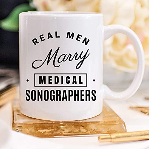 N\A Real Men Marry Medical Sonographers - Taza de café para ecografistas médicos, Taza de café de 11 onzas para ecografistas médicos, Taza de café con título de Trabajo