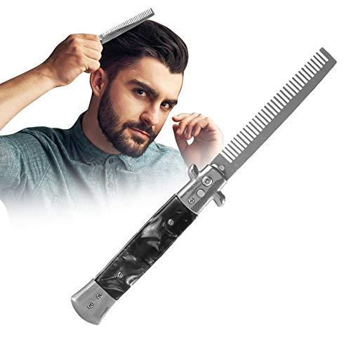 Edelstahl-Springmesser-Frühlings-Taschen-Öl-Haar-Kamm-faltbare Hairstyling-Bürste(Schwarz)