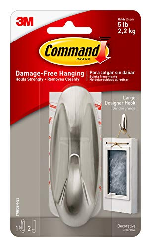 Command Large Designer Hook, Brushed Nickel, 1-Hook, 2-Strips, Decorate Damage-Free