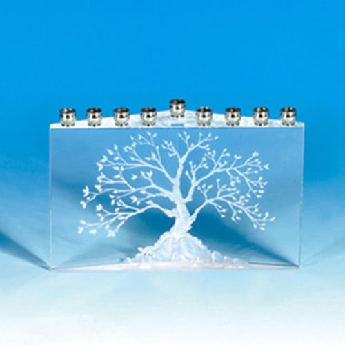 Judaica Menorah Hanukkah Crystal Tree of Life, Etz Chaim