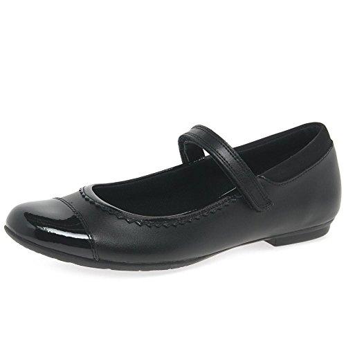 Clarks Tizz Ace BL (Bootleg) Girls School Shoes 5.5 Black/Black Pat