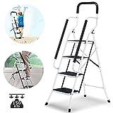 CTEGOOD Escalera Plegable portátil de 4 peldaños con Pedales Antideslizantes y Capacidad de la barandilla de Mano 330 Libras Ideal para el hogar/Cocina/Garaje