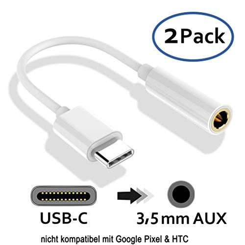 2X USB C auf 3,5 mm Audio Klinke Buchse Adapter Kabel für Musik Kopfhörer AUX I Huawei P20 Pro, Mate 10 Pro, Xiaomi Mi6, Mi Mix 2, Mi Note 3 I Set: 2 Stück I Weiß I Nicht FÜR Google Pixel & HTC