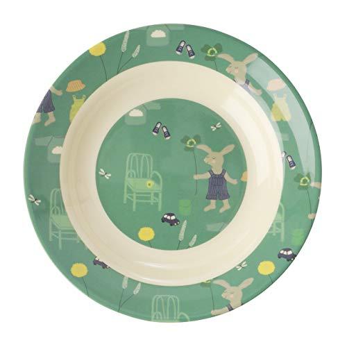 Rice Kindergeschirr aus Melamin, Muster Bunny Green, Verschiedene Artikel (Teller tief/Becher) Artikelvariante Teller tief