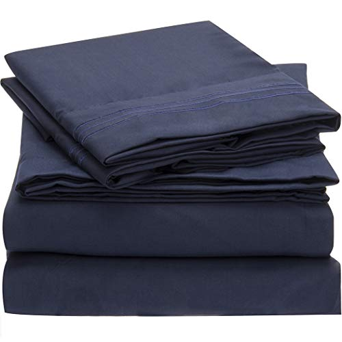 Mellanni Bed Sheet Set - Brushed Microfiber 1800 Bedding - Wrinkle, Fade, Stain Resistant - Hypoallergenic - 4 Piece (Full, Royal Blue)