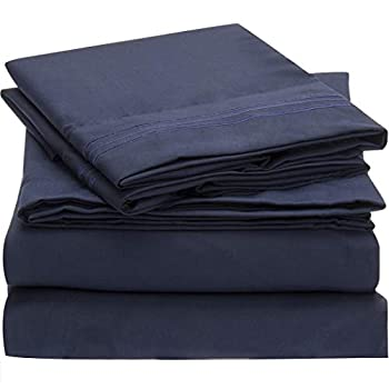 Mellanni Twin XL Sheet Set - Hotel Luxury 1800 Bedding Sheets & Pillowcases - Extra Soft Cooling Bed Sheets - Deep Pocket up to 16  - Fits College Dorm Room Mattress - 3 Piece  Twin XL Royal Blue