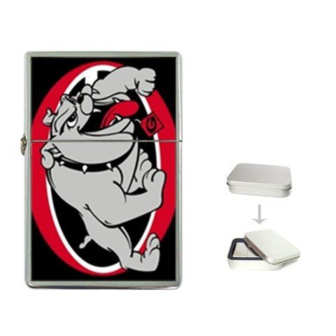 New Product GEORGIA BULLDOGS Flip Top Cigarette Lighter + free Case Box