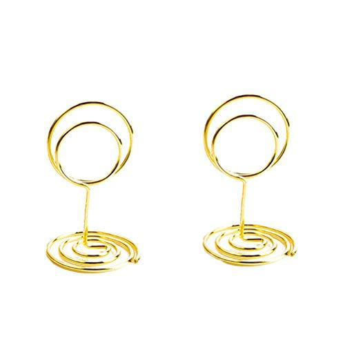 BESTonZON 10 Stücke 50 cm Tischkartenhalter Kreisförmige Memo Foto Ständer Halter Metall Karte Papier Hinweis Clips für Hochzeit Tischdekoration (Golden)