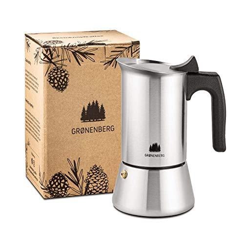 Groenenberg Cafetera Italiana inducción, 4 Tazas (200 ml) | Cafetera Moka de acero inoxidable (inox) | Cafetera Espresso manual con junta de repuesto e instrucciones | Espresso Maker sin Aluminio