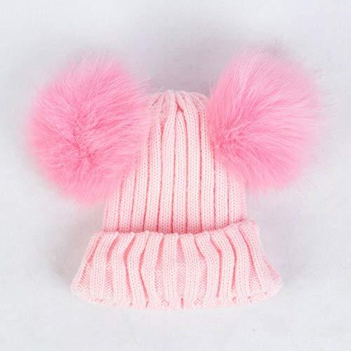 LiuliuBull Q Accesorios Infantil Cosas Cabritos del niño de la Muchacha del Muchacho del bebé Caliente del Invierno de Punto de Ganchillo Beanie Sombrero Cap Bolas de Pelo (Color : Pink 2)