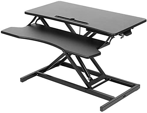 shenme Solid Desk Desk Desk Converter Desk Home Office Sit For Stand High Start Start Ajustable Gas Spring Riser Soporte en la estación de Trabajo de Escritorio con la Bandeja en el Teclado