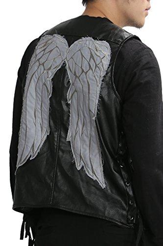 Herren Engels Flügel Lederne Weste Schwarz Erwachsenes Art und Weise Jacke Fanartikel Cosplay Kostüm Kleider