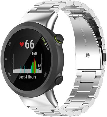 Shieranlee Correas de Metal compatibles con Garmin Forerunner 45 Correa,Strap de Repuesto de Acero Inoxidable para Forerunner 45/Swim 2 Smartwatch