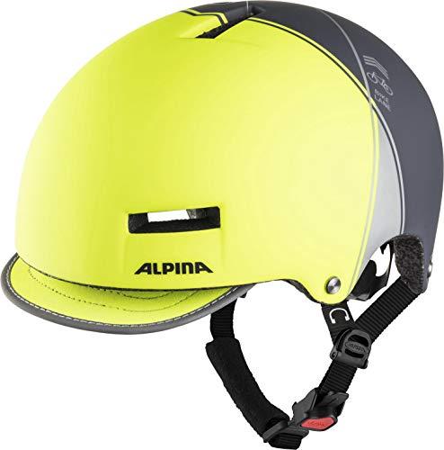 ALPINA GRUNERLOKKA Fahrradhelm, Unisex– Erwachsene, be visible-charcoal, 57-61