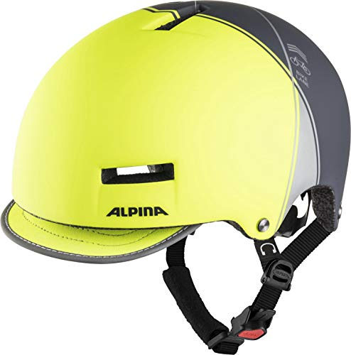 Alpina GRUNERLOKKA Casco de Bicicleta, Unisex-Adult, be Visible-Charcoal, 52-57