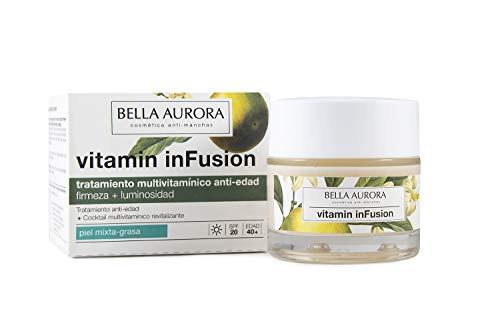 Bella Aurora Crema Facial de Día Anti-Edad y Anti-Arrugas Piel Mixta-Grasa 30+ Años, SPF 20, 50 ml | Prevención Anti-edad | Vitamin inFusion