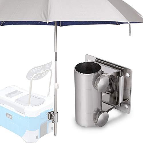 Esenlong - Soporte para paraguas de pesca, soporte ajustable de acero inoxidable para paraguas, base de soporte desmontable para paraguas con placa de montaje y tornillos para caja de pesca